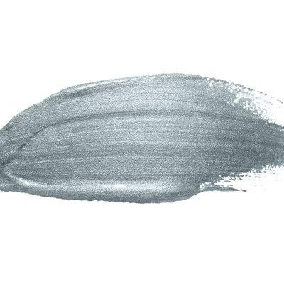Silver paint brush stroke or abstract dab smear with silver glitter texture on white background. Isolated glittering oil or ink paintbrush splash stain for luxury design
