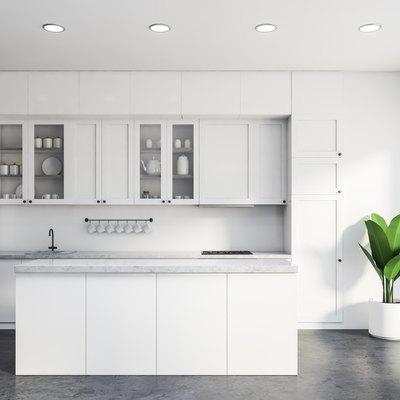 Luxury white kitchen interior with island