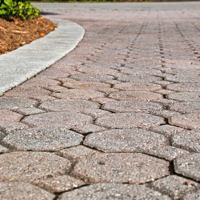 low angle octagon brick paver driveway