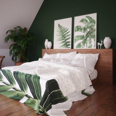 Green vintage bedroom interior