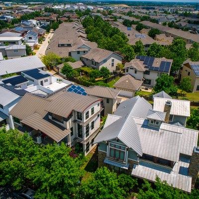 Neighborhood with solar panel rooftops