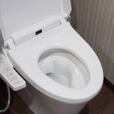 Modern high tech toilet with electronic bidet in Japan. Industry leaders recently agreed on signage standards for Japanese toilet bowls.