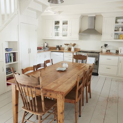 Interior View Of Kitchen With Wooden Dining Table