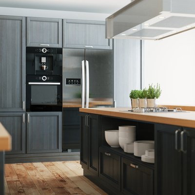 3d realistic modern country kitchen