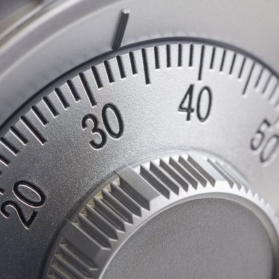 Combination dial lock on safe