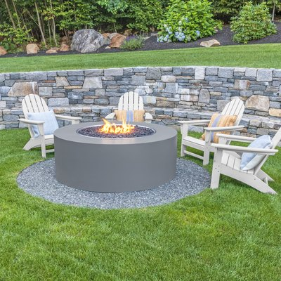 Adirondack chairs around fire pit