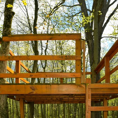 Wooden Tree House Fort Platform Hunting Stand in Deep Dark Forest Wood
