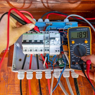 Electrician measurements with multimeter tester System ready