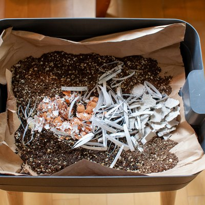 A mixture of bedding material is put into the starting tray of a worm composter
