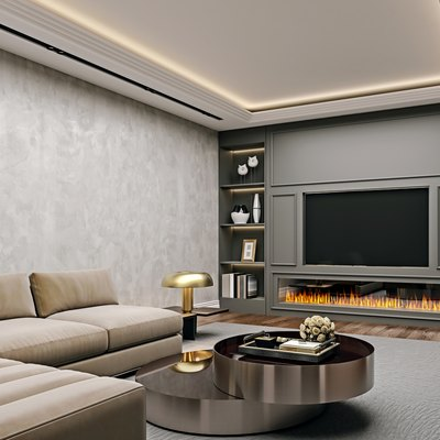 Modern interior design of living room in basement, angled close up view of tv wall with book shelves, stucco plaster, wooden flooring, 3d rendering