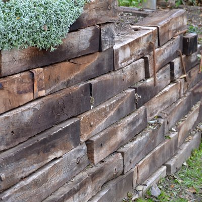 the retaining wall made of wooden sleepers is wooden and forms the edge of the perennial flowerbed. landscaping of brown palisade in a flowerbed reminiscent of brick blocks
