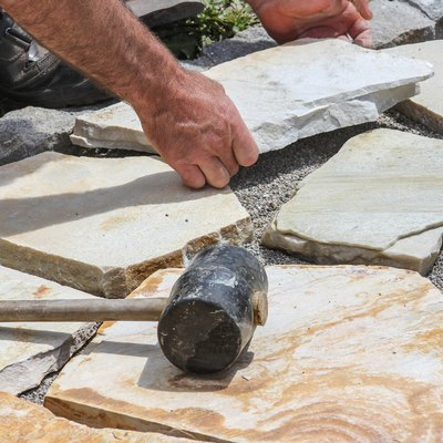 Paver with marble plates
