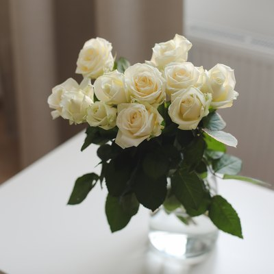glass vase with white roses on white table indoors