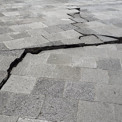 Cracked sidewalk after the earthquake