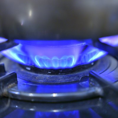 Kitchen gas stove flame.