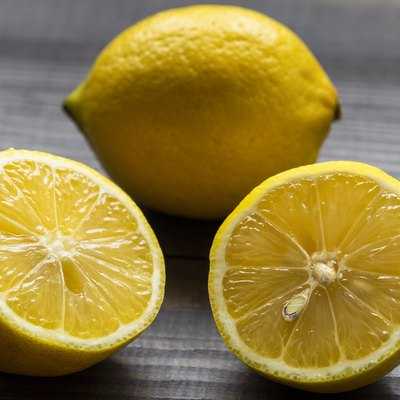 The image of a lemon rich in vitamin C on an insulated table.