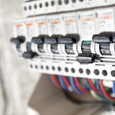 Circuit breaker installation close up