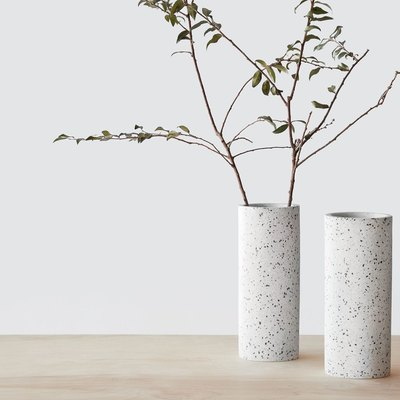 On-trend terrazzo vase in a streamlined shape.
