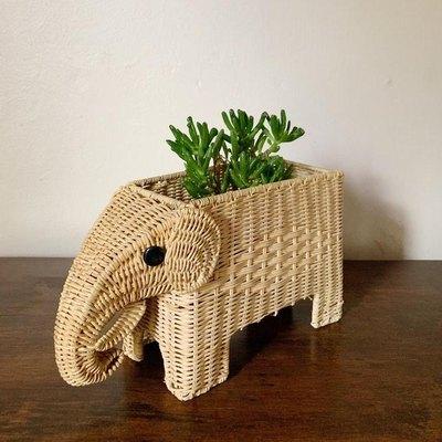 Woven Wicker Elephant Planter