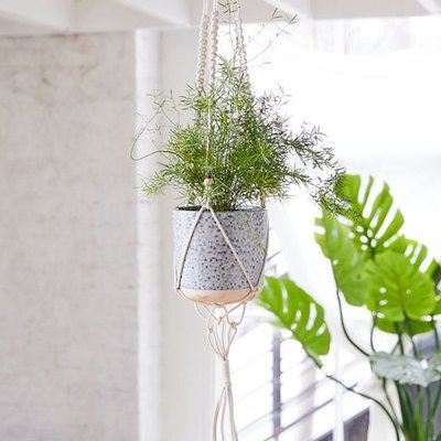 Beaded Macrame Hanging Plant Holder