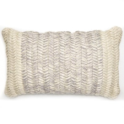 MoDRN Braided Texture Lumbar Outdoor Throw Pillow in Grey