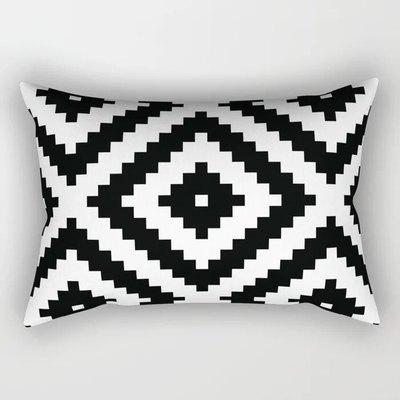 Black Aztec Rectangular Pillow
