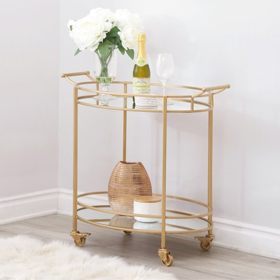 Abbyson Marriot Mirrored Oval Bar Cart