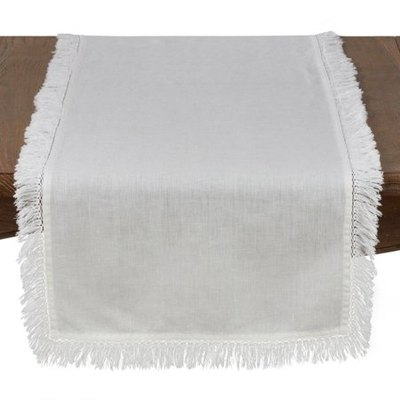 Stonewashed Fringed Edges Linen Table Runner