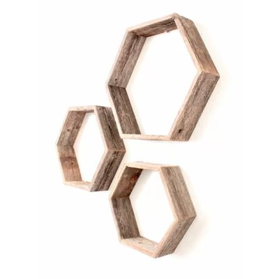 Josiah Hexagon 3 Piece Floating Shelf Set