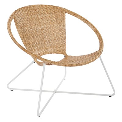 Navarre Lounge Chair in Natural With White Frame