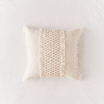 Macrame Fringed Throw Pillow