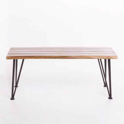 Zephyra Iron and Acacia Wood Coffee Table