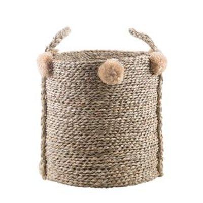 Seagrass Pom Pom Basket
