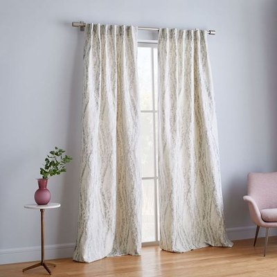 Bark Texture Shine Jacquard Curtain - Platinum
