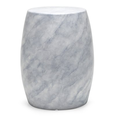 MoDRN Round Glam Faux Marble Outdoor Garden Stool