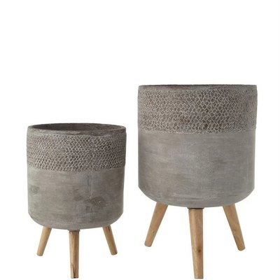 Cement Planters, Set of Two