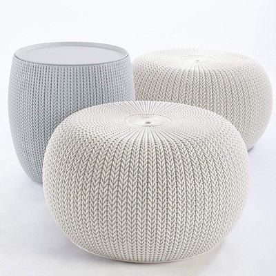 Keter Urban Knit Pouf Ottoman Set
