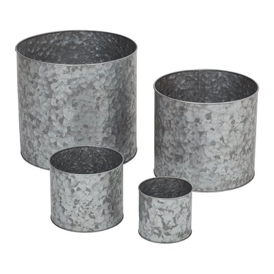 Mainstays Massey Galvanized Metal Planters