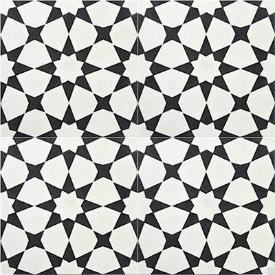 Handmade Encaustic Medina Black Tile