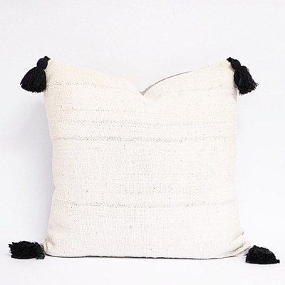Authentic Natural Off White African Mudcloth Textile Pillow Cover