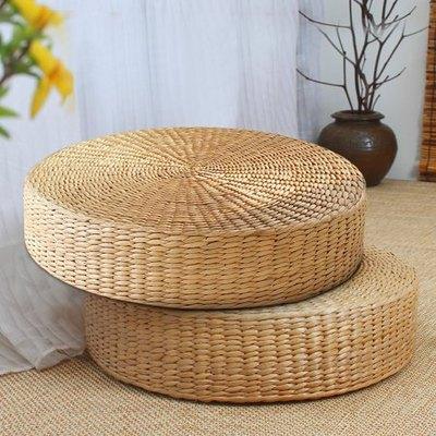 Round Pouf Tatami Chair Cushion Floor Mat in Natural Straw