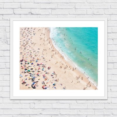 Picture Frame of Aerial view of the beach in Nazare on a sunny summer day.