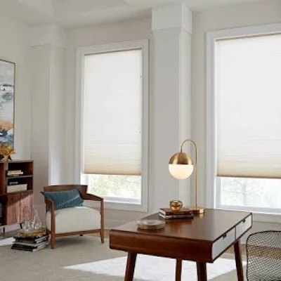 Cellular shades in a living room
