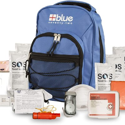 A Blue Coolers emergency kit for one person that includes food and survival gear