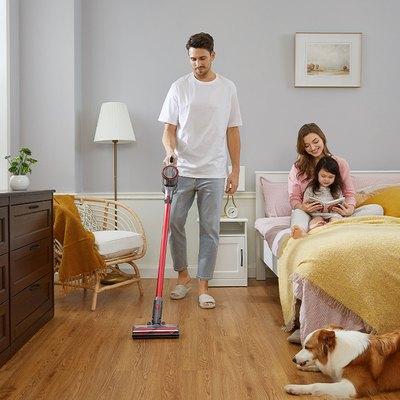 family vacuuming