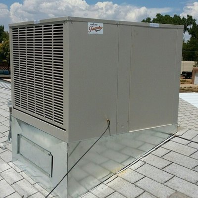 A swamp cooler on a roof