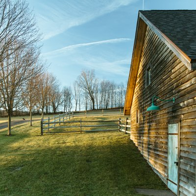 A wood cabin with a green lamp on a grass lawn with trees