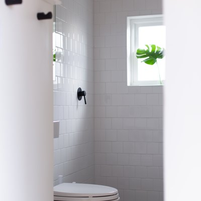 White subway tile bathroom with white toilet and shower window  with monstera leaf