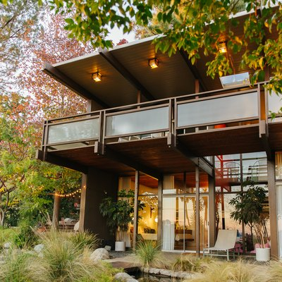 Exterior of large midcentury home