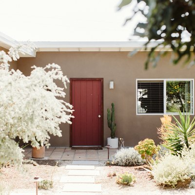 exterior house color idea with red door